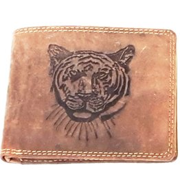 Leren portemonnee met reliëf Tijgerkop horizontaal