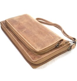 MicMac MicMac leather wallet with cell phone compartment (light brown)