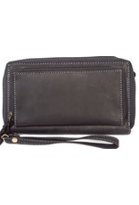 MicMac Leather Wallets - Leather wallet with mobile phone compartment MicMac (black)
