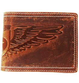 Wild Club Only Leather wallet with embossed eagle wings (standard size)