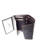 Best Burry Leather Wallets -  Leather wallet with embossed flowers (medium)