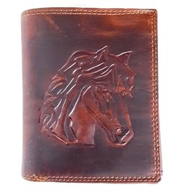 Leather wallet with embossed horse head (vertical)