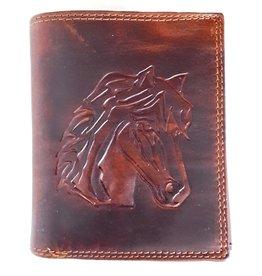 Leren portemonnee met reliëf paardenhoofd (verticaal)