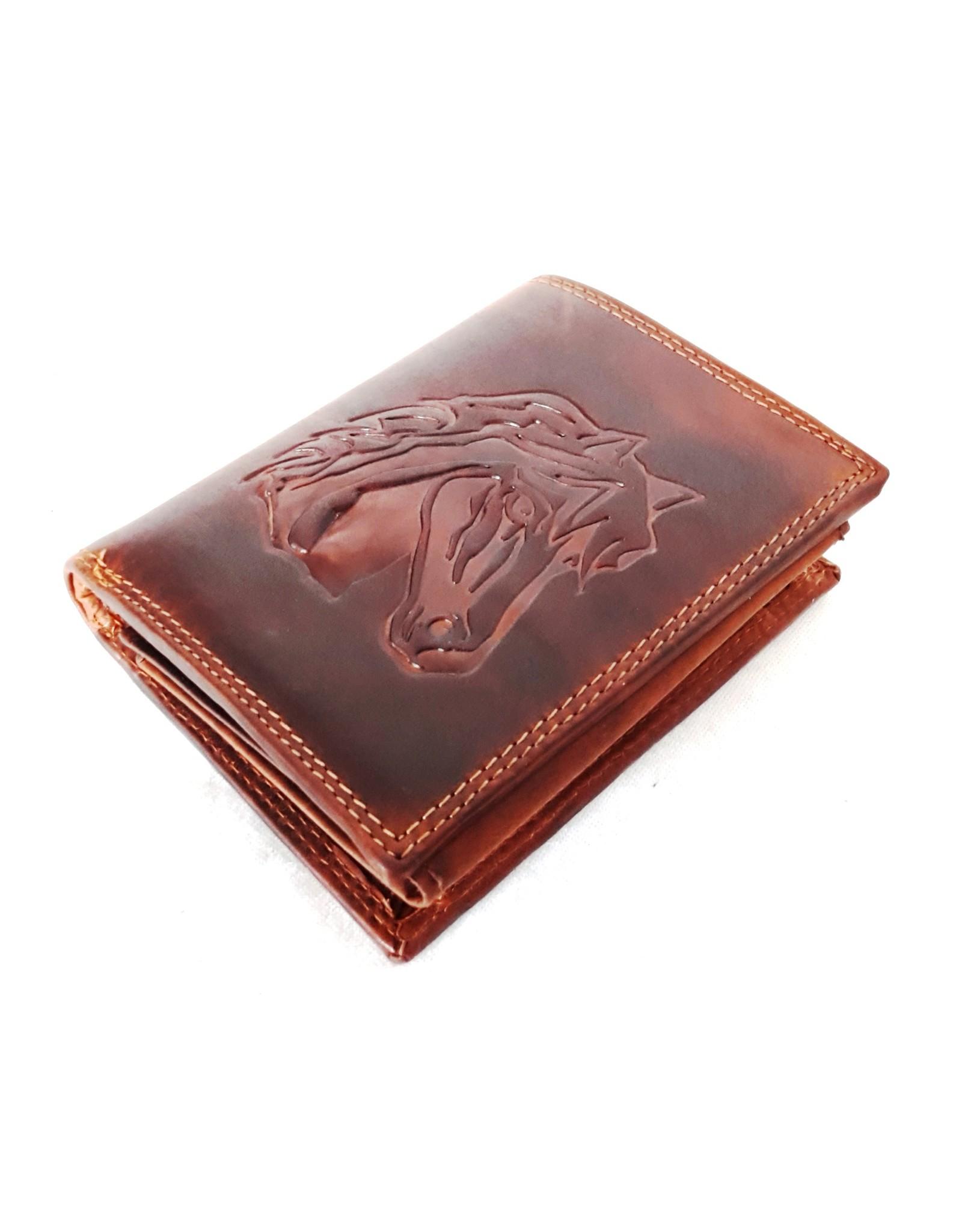 Hütmann Leren Portemonnees - Leren portemonnee met met reliëf paardenhoofd (verticaal)