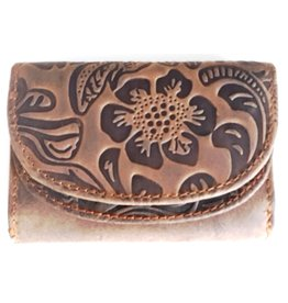 Hutmann Leather mini wallet with embossed flowers
