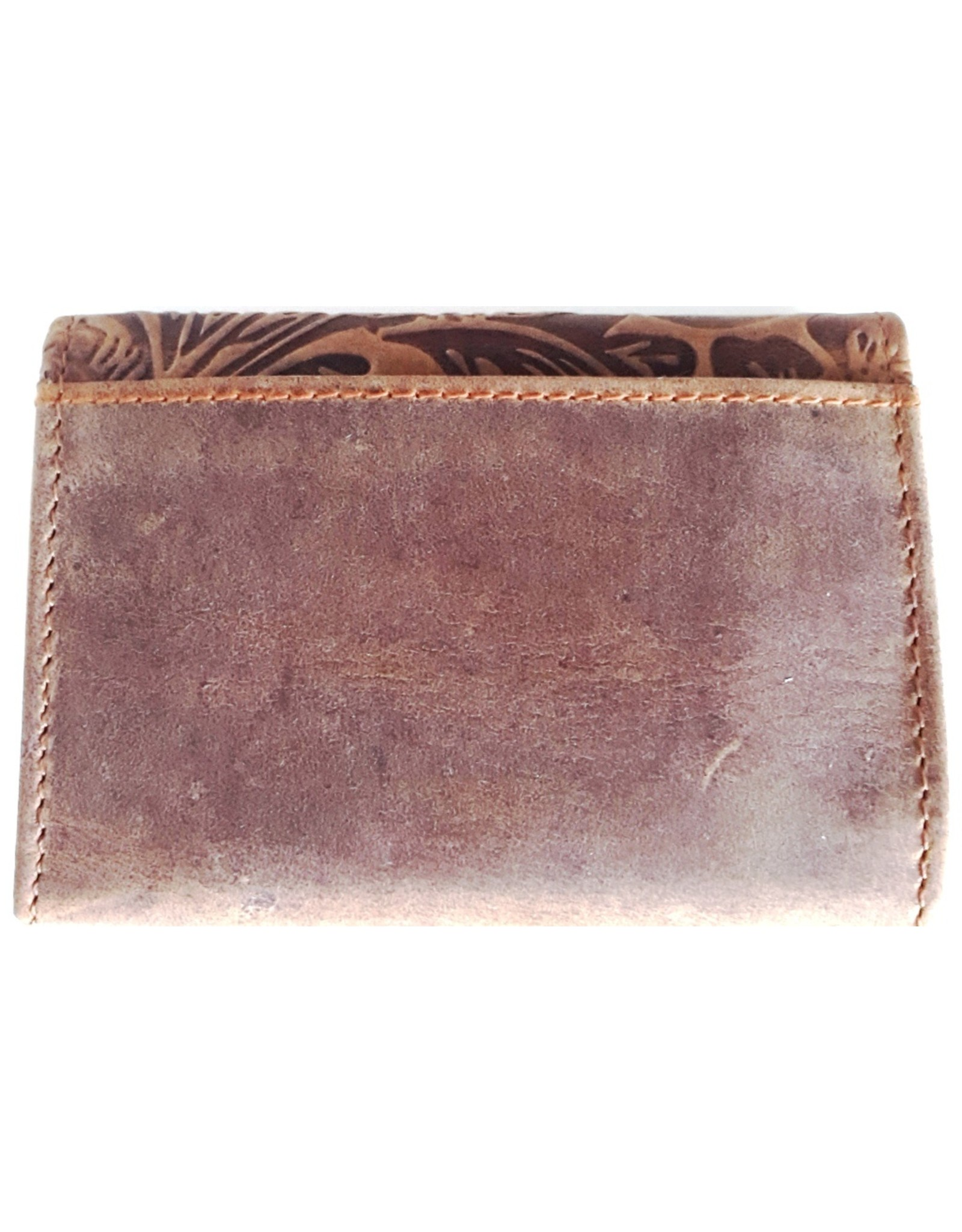 Hutmann Leather Wallets - Leather mini wallet with embossed flowers cover