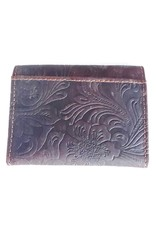 Hutmann Leather Wallets - Leather mini wallet with embossed flowers (dark brown)