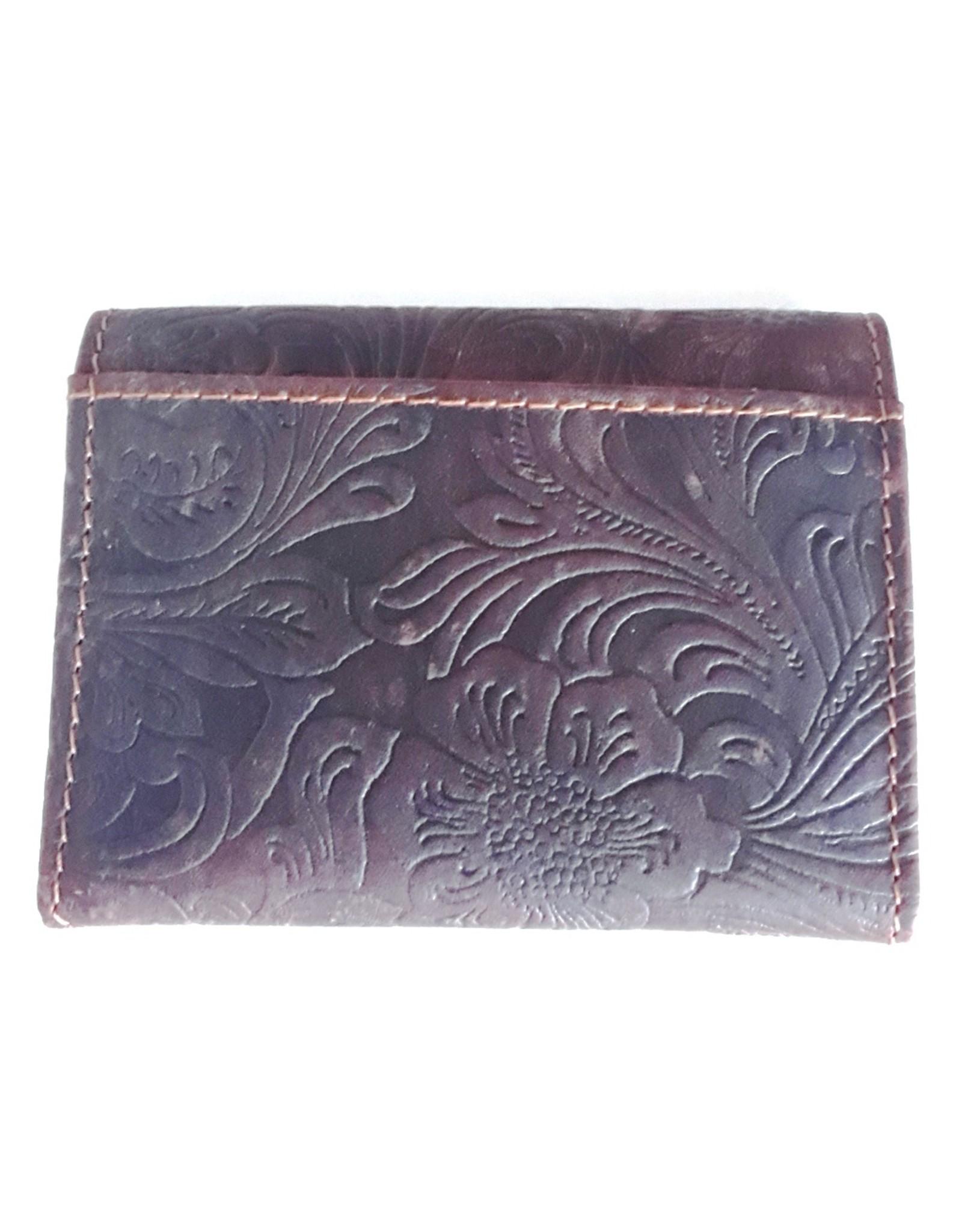 Leren Portemonnees - Leren mini portemonnee met reliëf bloemen (donkerbruin)