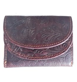 Hutmann Leather mini wallet with embossed flowers (dark brown)