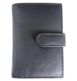 Leren Mini-Portemonnee en Pasjeshouder in één zwart
