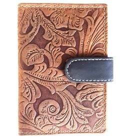 Hutmann Leather card holder with embossed flowers