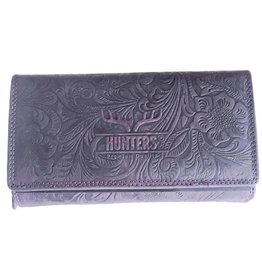 Hunters Leather purse with embossed floral pattern Hunters purple