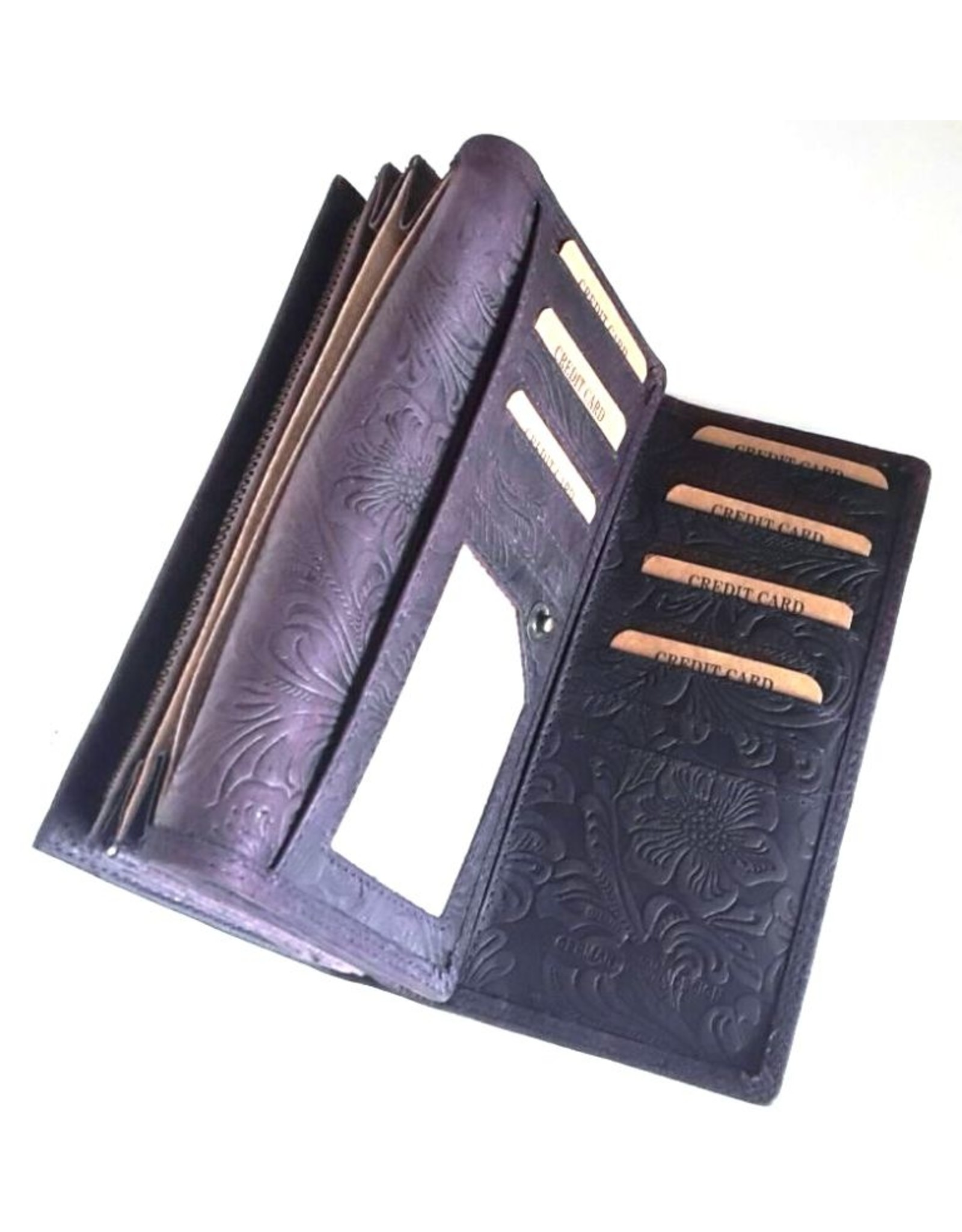 Hunters Leather Wallets -   Leather purse with embossed floral pattern Hunters purple