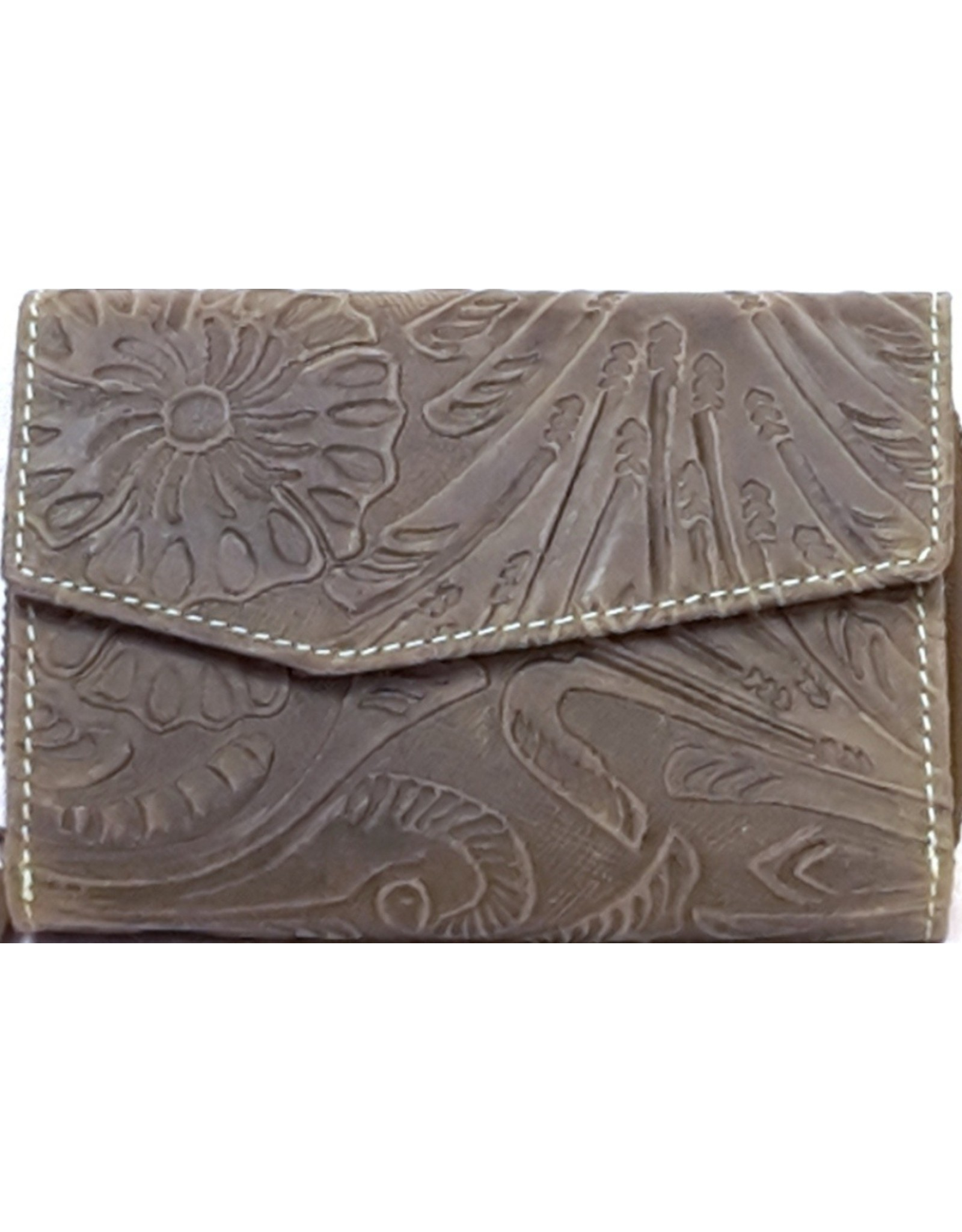 HillBurry Leather Wallets - Leather wallet with embossed floral pattern (green)