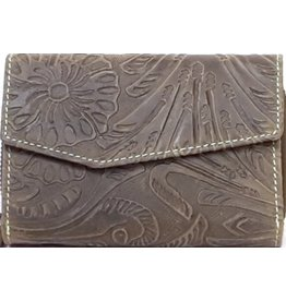 HillBurry Leather wallet with embossed floral pattern (green)