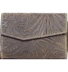HillBurry Leren portemonnee met reliëf bloemenmotief  (groen)