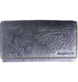 BestBurry Leather purse with embossed flowers (large)