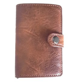 Mini wallet with aluminium card protector (brown)