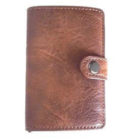 Miniwallet met aluminium card protector (bruin)