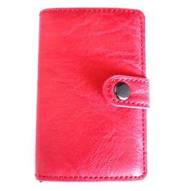 Miniwallet met aluminium card protector (rood)