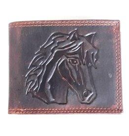 Leren portemonnee met reliëf paardenhoofd (horizontaal)