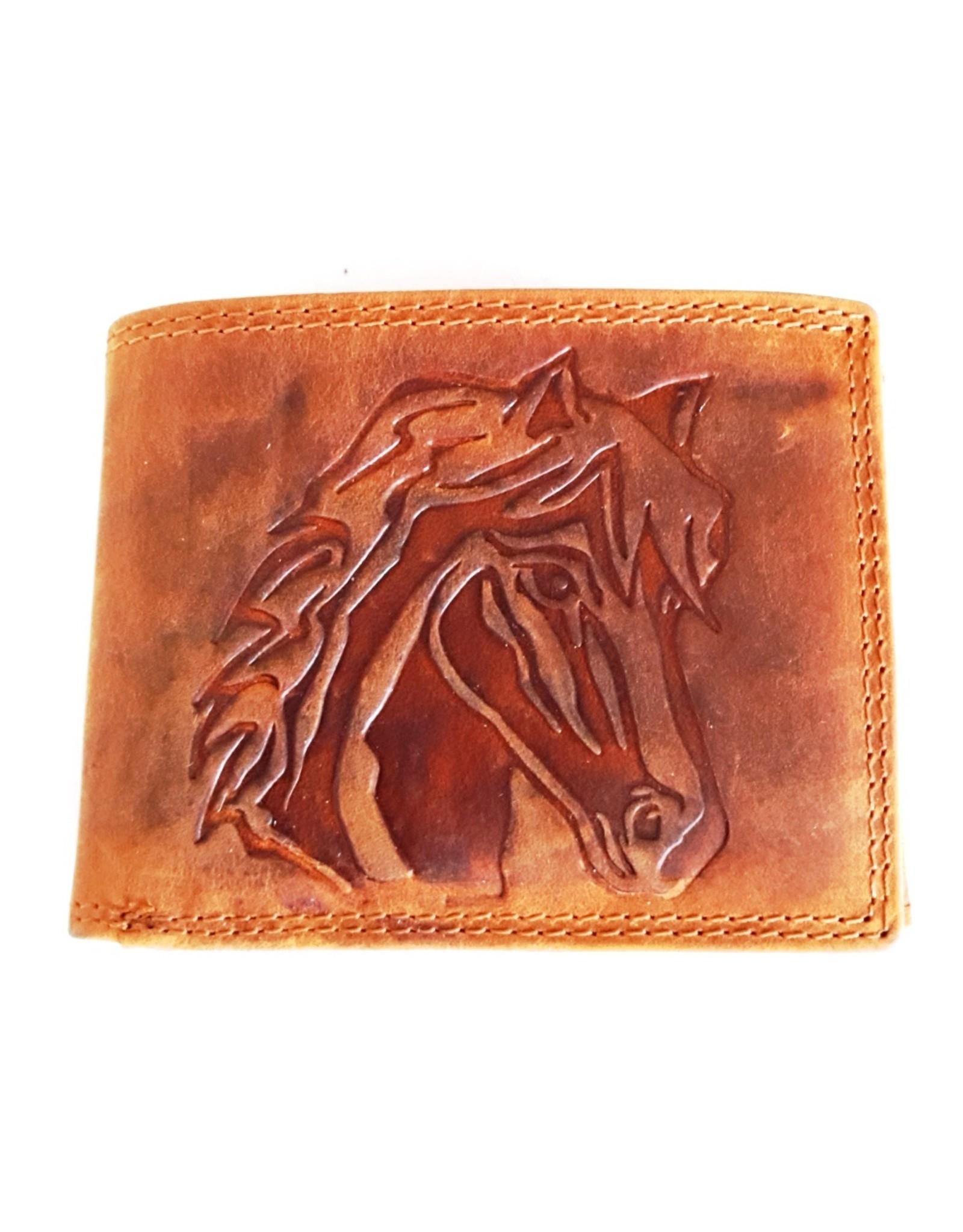 Hütmann Leren Portemonnees - Leren portemonnee met reliëf paardenhoofd (klein)