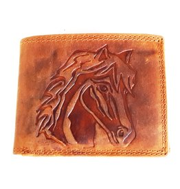 Leather wallet with embossed horse head (small)