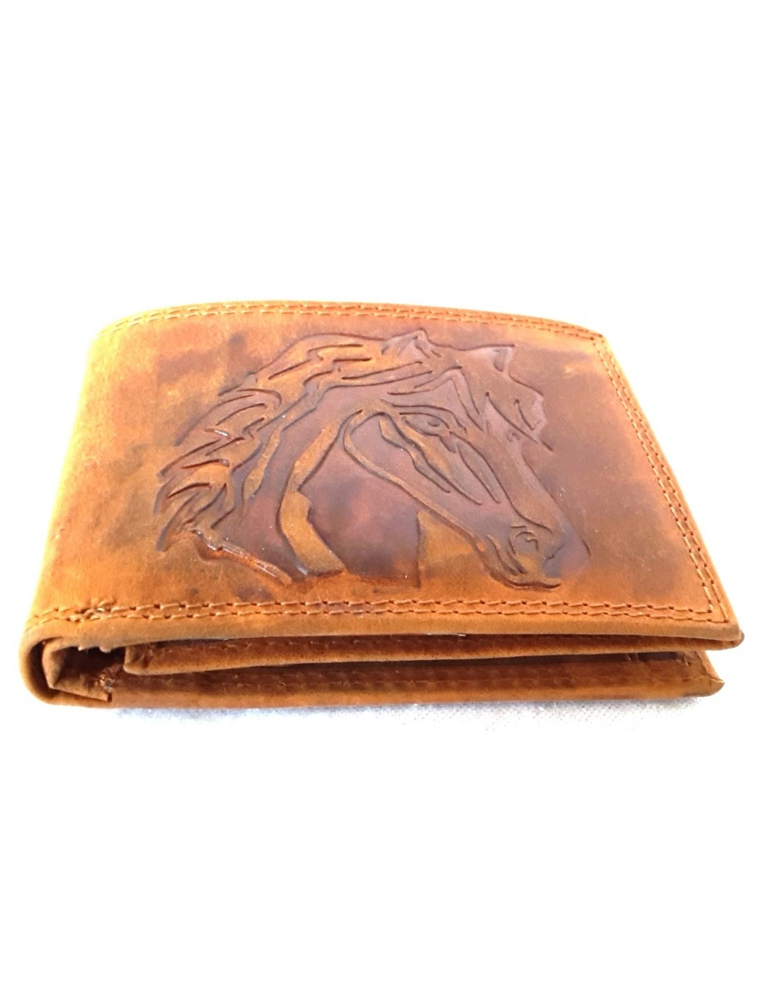 Leren Portemonnees - Leren portemonnee met reliëf paardenhoofd (klein)