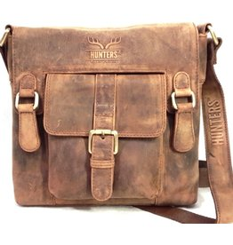 Hunters Hunters Leather shoulder bag with cover and front pocket