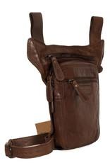 HillBurry Leren tassen - Hillburry riemtas beentas van gewassen leer bruin