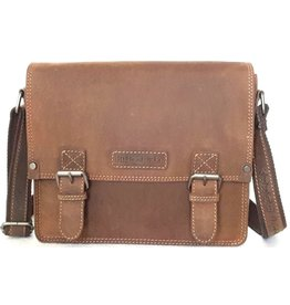 HillBurry Hillburry Vintage look Leren schooltas (medium)