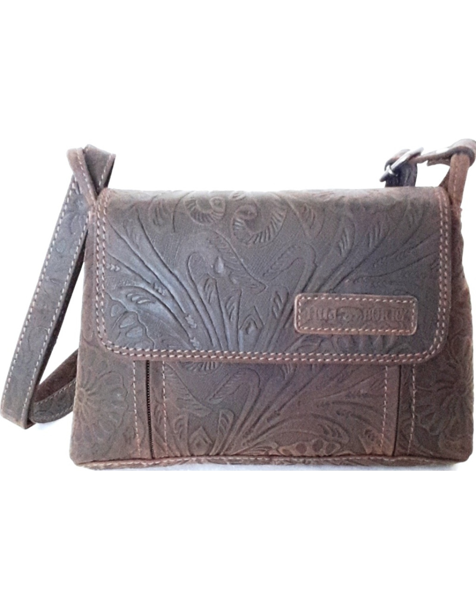 HillBurry Leather shoulder bags Leather crossbody bags - HillBurry shoulder bag with embossed flowers (dark brown)