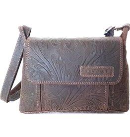 HillBurry HillBurry shoulder bag with embossed flowers (dark brown)
