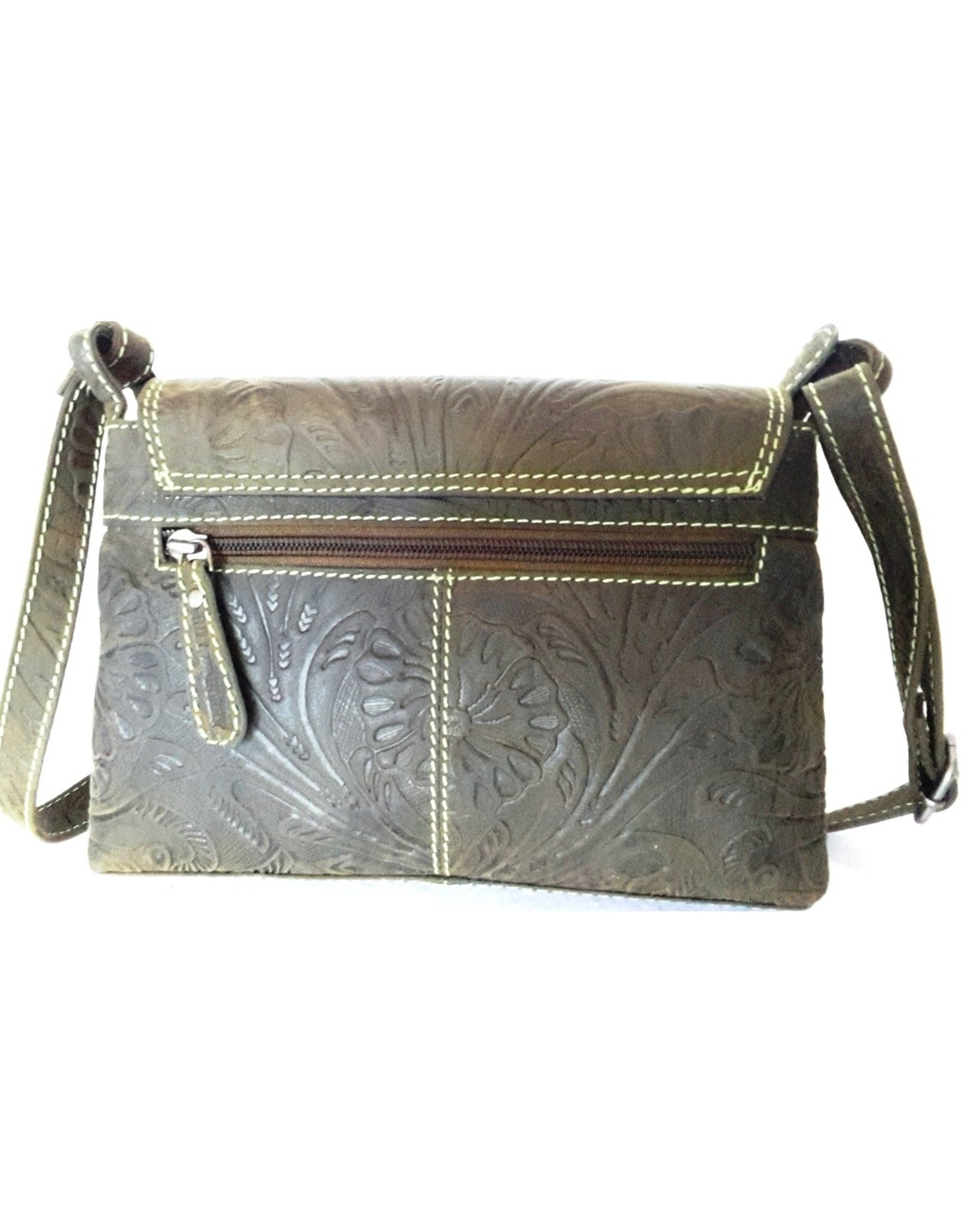 HillBurry Leather shoulder bags Leather crossbody bags - HillBurry shoulder bag with embossed flowers (green)