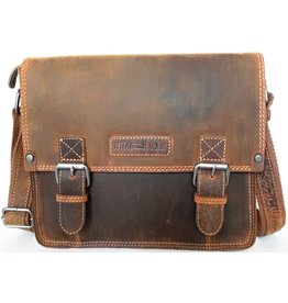 HillBurry HillBurry Leren schooltas vintage look (medium)