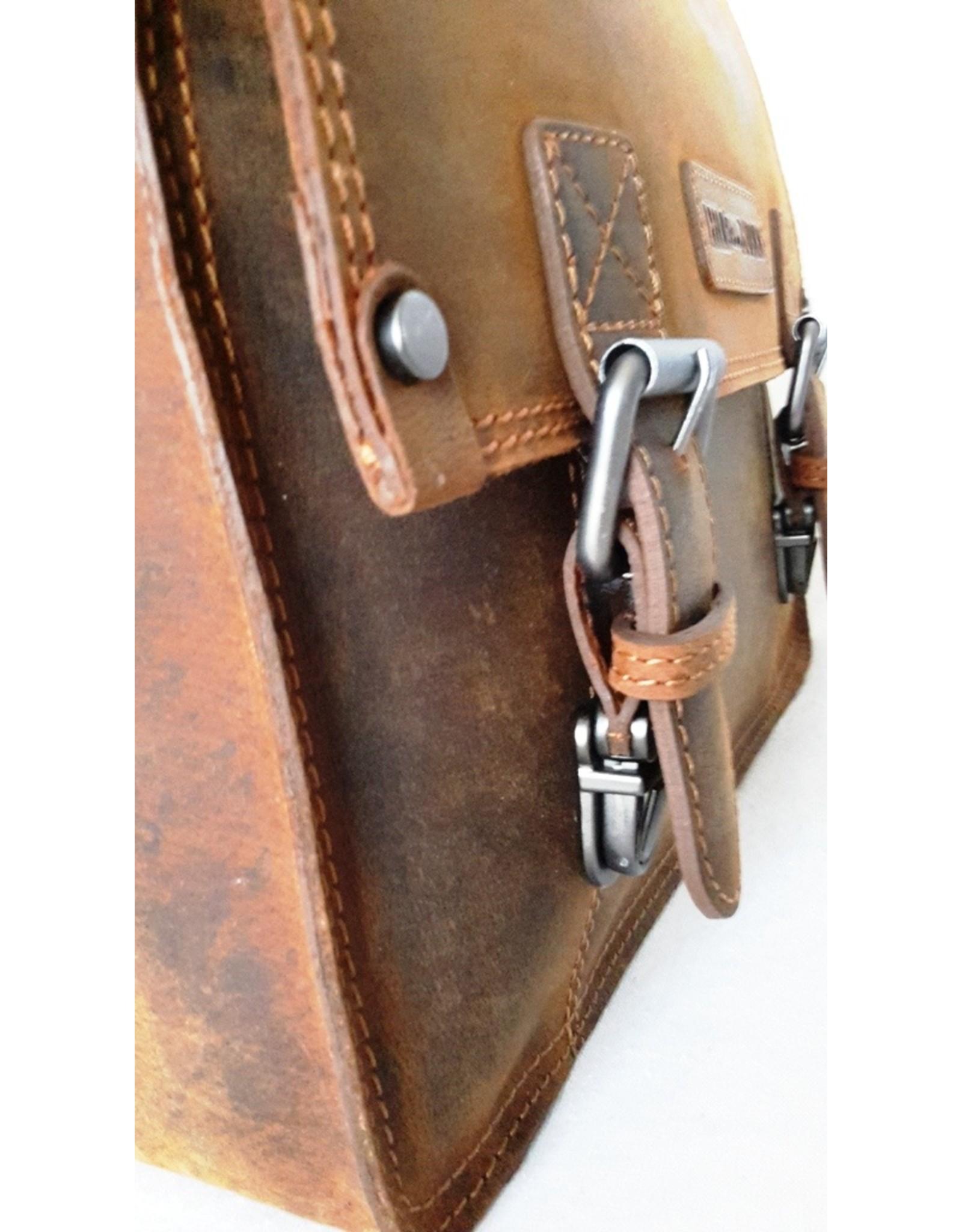 HillBurry Leren werktassen en Leren laptoptassen - HillBurry Leren schooltas vintage look (medium)