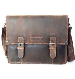 "HillBurry HillBurry Leren schooltas ""vintage"" Dark tan (large)"