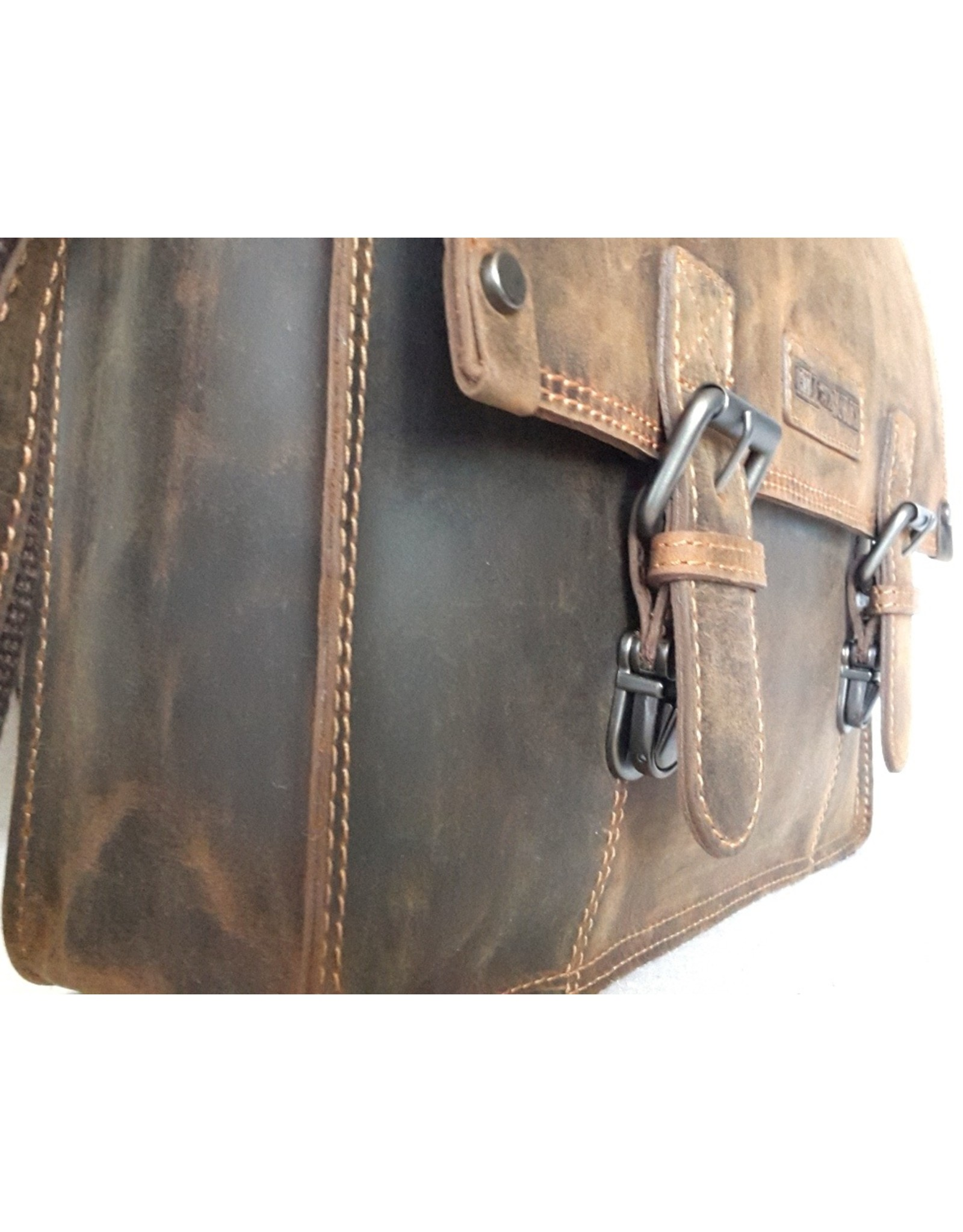 HillBurry Leather laptop bags - HillBurry Leather school bag vintage look (large)