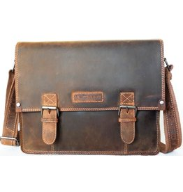 "HillBurry Hillburry Leather school bag ""vintage"" Mango tan (large)"