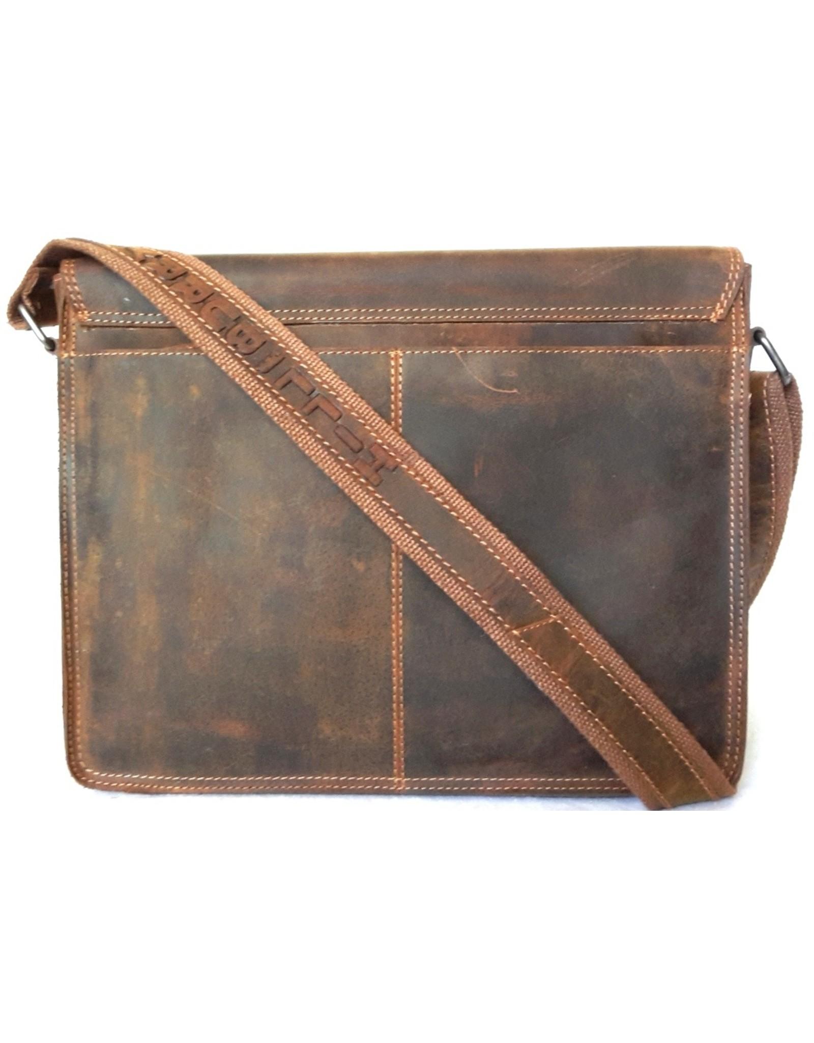 HillBurry Leather work bags Leather laptop bags - Hillburry Leather school bag vintage look Mango tan (large)