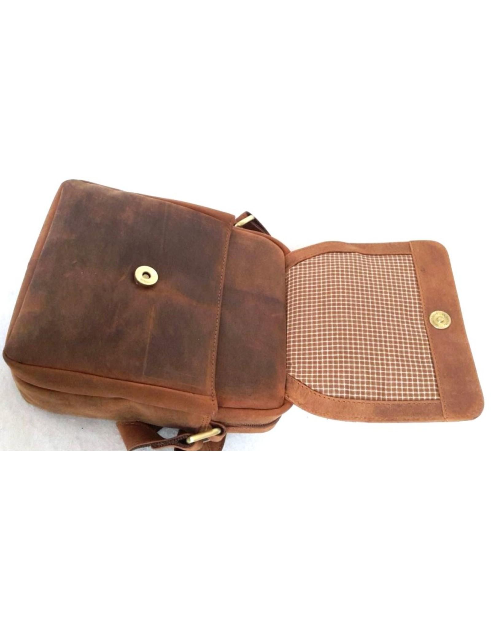 Hunters Leren schoudertassen Leren crossbody tassen - Hunters crossbody tas met afgeronde hoeken (tan)