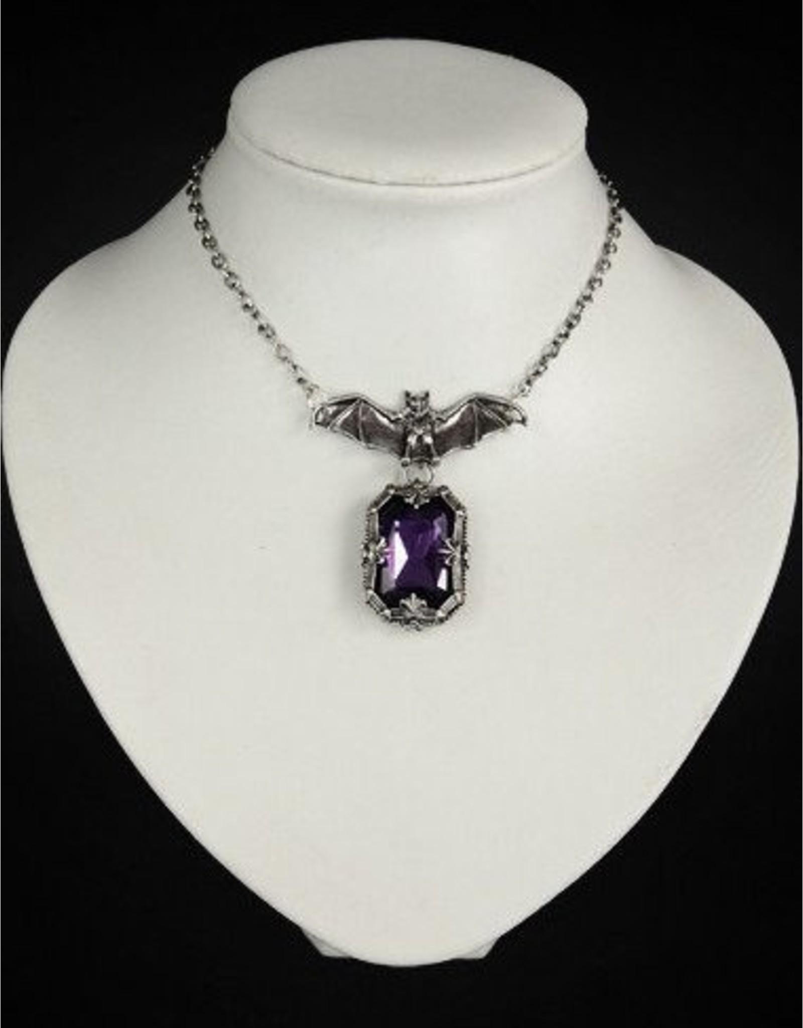 Restyle Gothic sieraden Steampunk sieraden - Hanger Vleermuis met paarse steen Night Whisper - Restyle