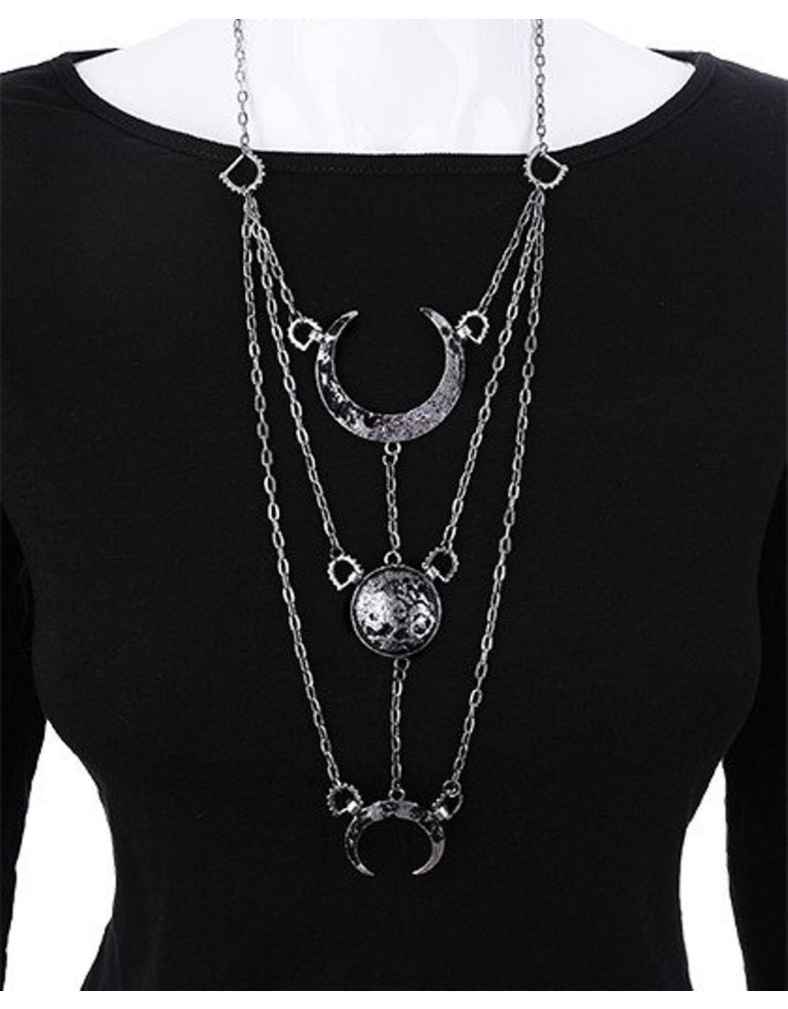 Restyle Gothic sieraden Steampunk sieraden - Lange ketting met halve maan Moon Phases - Restyle