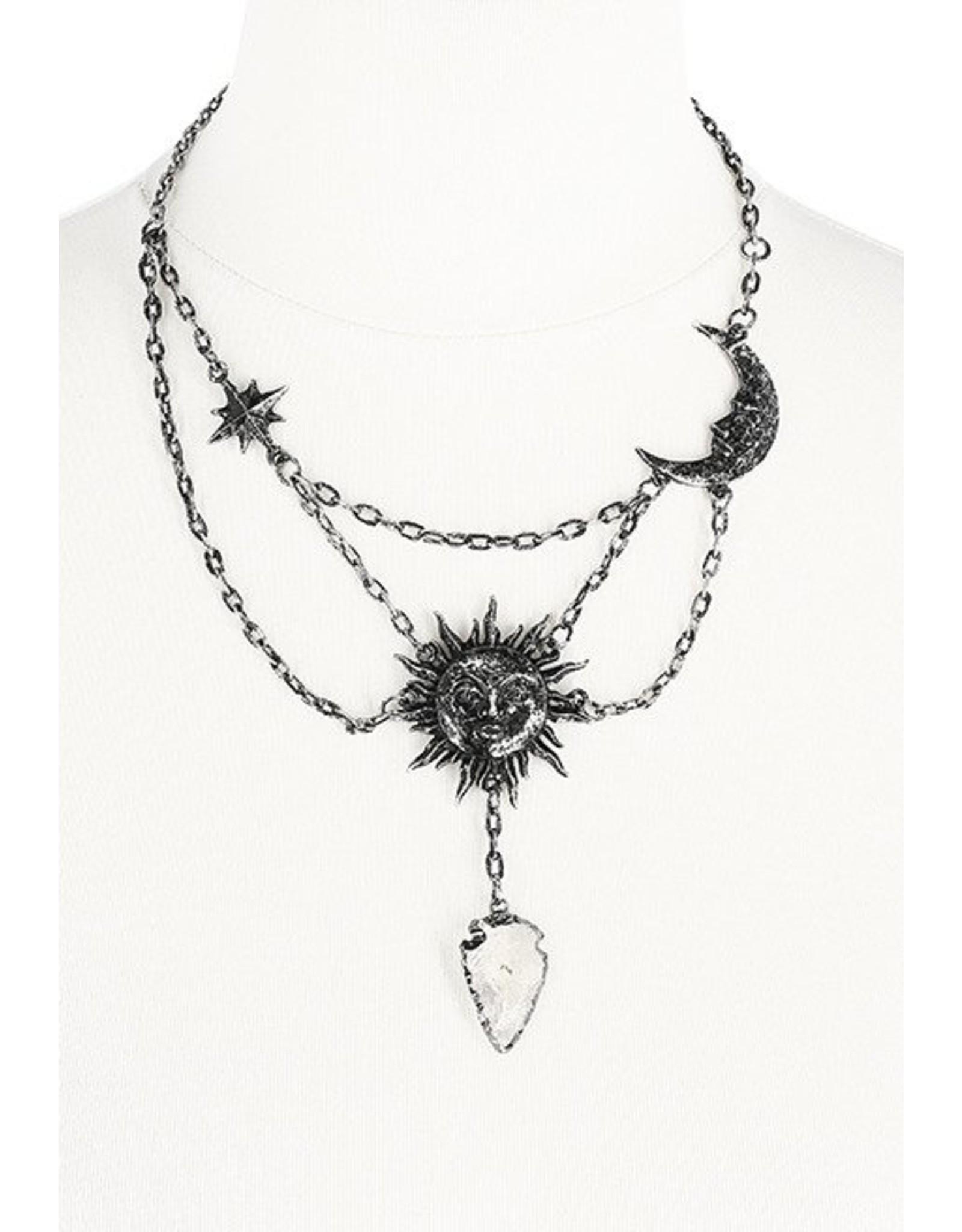 Restyle Gothic sieraden Steampunk sieraden - Ketting Moon & Sun met kwarts kristal - Restyle