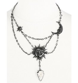 Restyle Moon & Sun necklace with quartz crystal - Restyle
