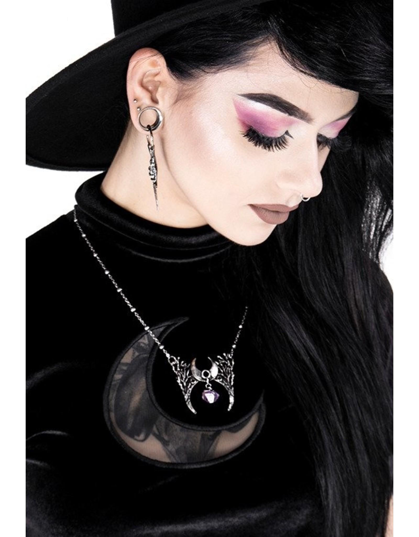 Restyle Gothic sieraden Steampunk sieraden - Ketting met kristal Branch Crescent (zilver) - Restyle