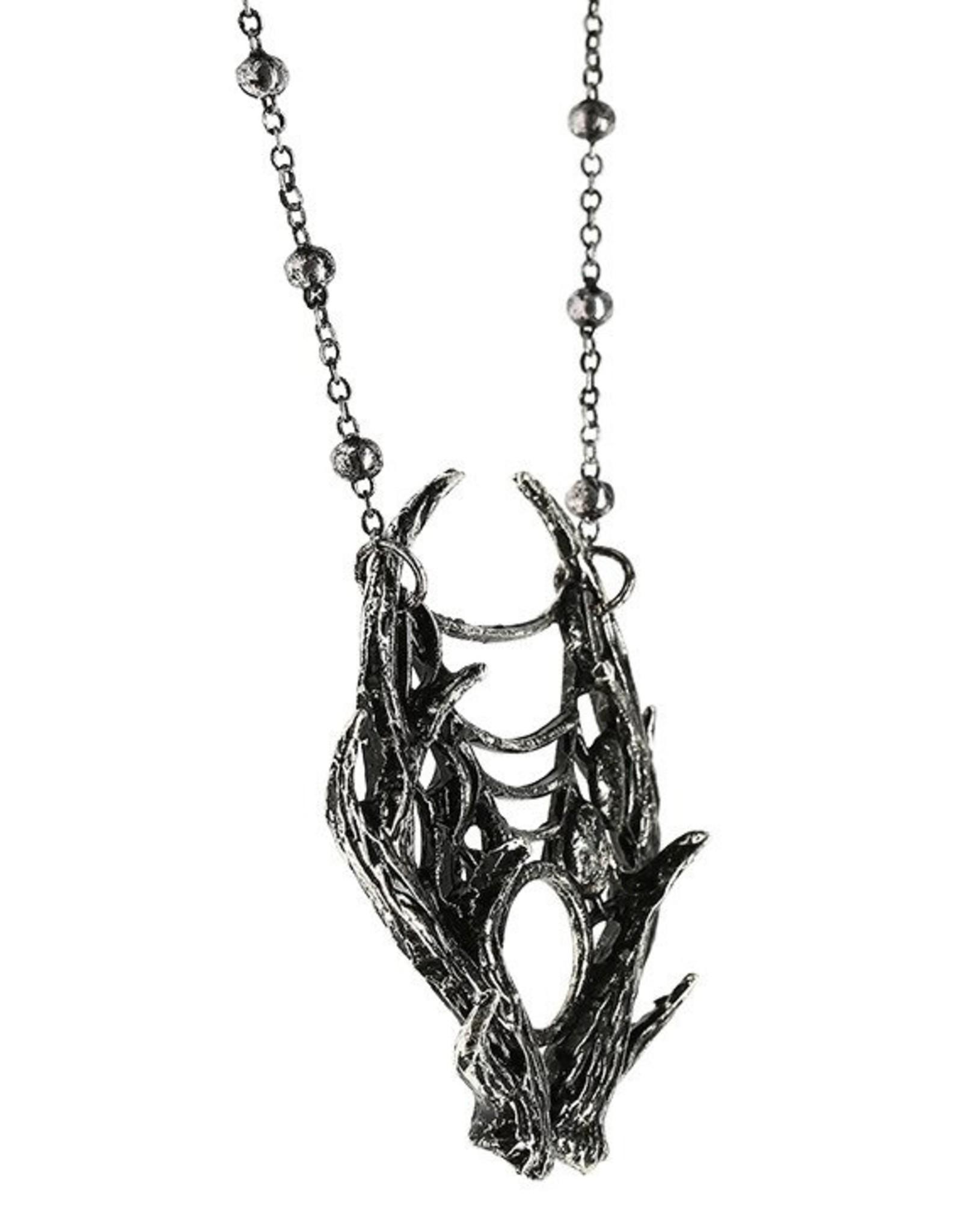 Restyle Gothic sieraden Steampunk sieraden - Ketting met Maanfasen 3D Moon Antler - Restyle
