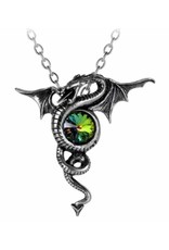 Alchemy Gothic jewellery Steampunk jewellery - Anguis Aeternus Dragon necklace with green crystal - Alchemy