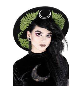 Restyle Hoed met brede rand en Groene Varen - Forest Witch