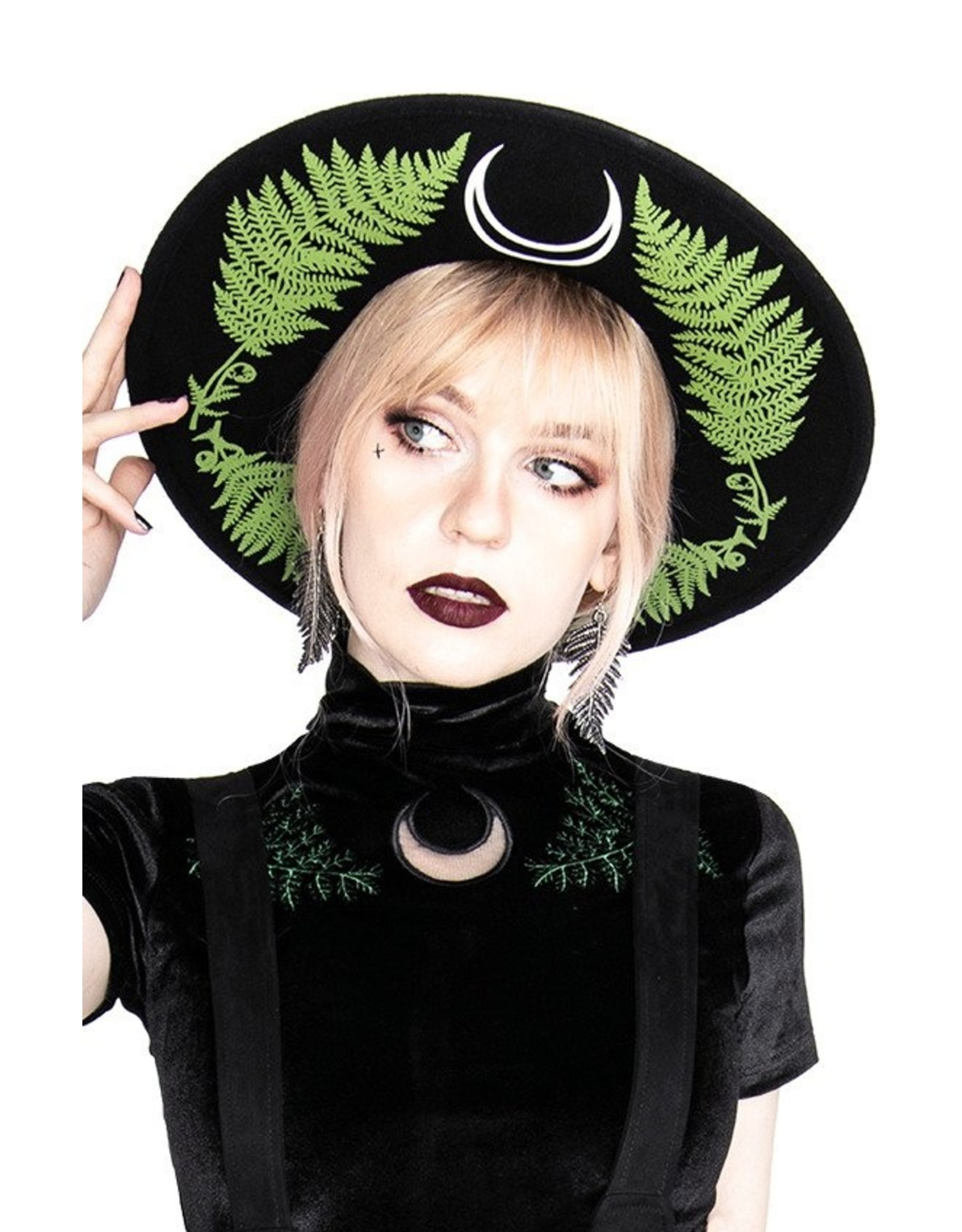 Restyle Gothic en Steampunk accessoires - Hoed met brede rand Forest Witch (wol)